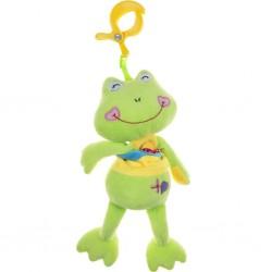 Plyšová hračka s hracím strojkem Akuku žabka, Zelená