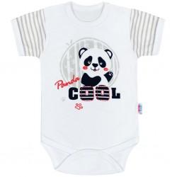 Kojenecké body s krátkým rukávem New Baby Panda, Šedá, 62 (3-6m)