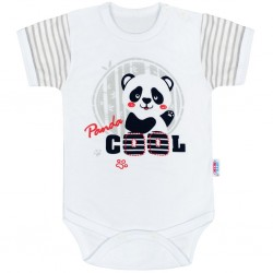 Kojenecké body s krátkým rukávem New Baby Panda, Šedá, 68 (4-6m)