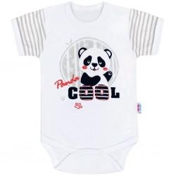 Kojenecké body s krátkým rukávem New Baby Panda, Šedá, 74 (6-9m)