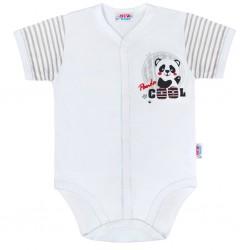 Kojenecké celorozepínací body s krátkým rukávem New Baby Panda, Šedá, 56 (0-3m)