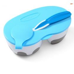Uzavíratelná dvoukomorová miska s lžičkou - modrá