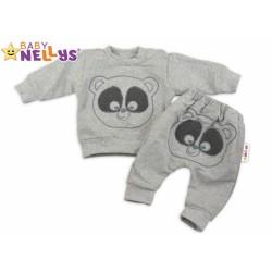Tepláková souprava Baby Nellys - Medvídek - šedý melír