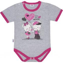 Dětské body s krátkým rukávem New Baby Love Mouse, Růžová, 74 (6-9m)