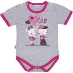 Dětské body s krátkým rukávem New Baby Love Mouse, Růžová, 80 (9-12m)
