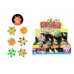 Míček meteor svítící 12cm plast asst mix barev síťce 12ks boxu