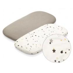 BabyOno Bambusové prostěradla, 40 x 75cm - Hvězdný prach - 2ks , šedá/ecru