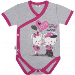 Dětské body s bočním zapínáním krátký rukáv New Baby Love Mouse, Růžová, 56 (0-3m)