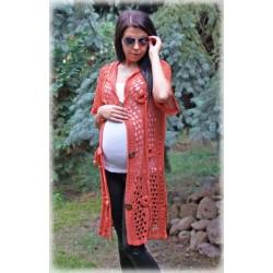 Těhotenský svetřík/plášt  - ESCADA - pomerančový losos