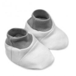 Botičky/ponožtičky,Little prince/princess bavlna  - bílo/šedé