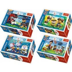 Minipuzzle Paw Patrol 54dílků asst 4 druhy v krabičce 9x6x3cm 40ks v boxu