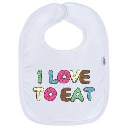 Kojenecký bavlněný bryndák New Baby I LOVE TO EAT, Bílá, univerzální