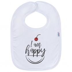 Kojenecký bavlněný bryndák New Baby I am happy, Bílá, univerzální