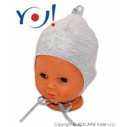 Bavlněná čepička YO ! HVĚZDIČKA - šedá - se zavazováním