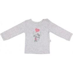 Bavlněné tričko Little mouse - dlouhý rukáv - šedé
