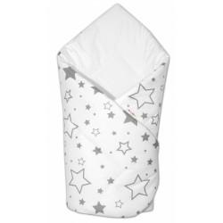 Novorozenecká rychlozavinovačka Klasik - Šedé hvězdy a hvězdičky - bílá