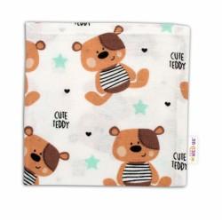 Mini flanelová plenka - Medvídek hnědý v bílé Cute Teddy