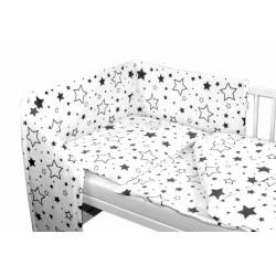 3-dílná sada - mantinel s povlečením - Černé hvězdy a hvězdičky - bílý