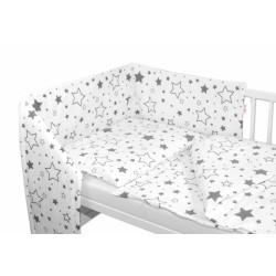 3-dílná sada - mantinel s povlečením - Šedé hvězdy a hvězdičky - bílý