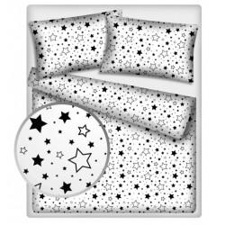 Bavlněné povlečení 140 x 200 - Černé hvězdy a hvězdičky