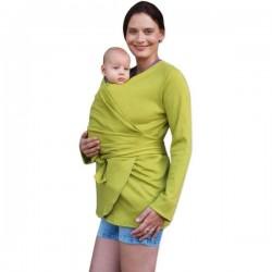 Zavinovací kabátek pro nosící, těhotné - biobavlněný - limetkový