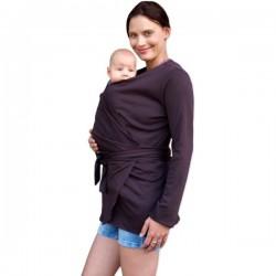 Zavinovací kabátek pro nosící, těhotné - biobavlněný - čokoládová