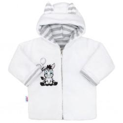 Luxusní dětský zimní kabátek s kapucí New Baby Zebra, Bílá, 74 (6-9m)
