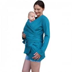 Zavinovací kabátek pro nosící, těhotné - biobavlněný - petrolejový