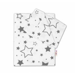2-dílné bavlněné povlečení - Šedé hvězdy a hvězdičky - bílý
