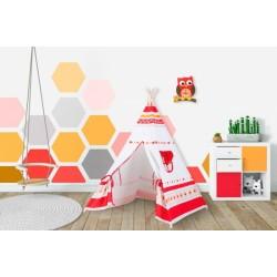 Stan pro děti teepee, týpí - bilý,červený