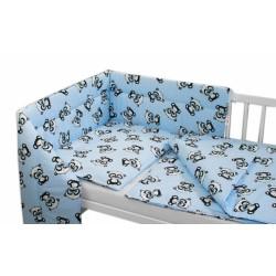 3-dílná sada mantinel s povlečením + zavinovačka zdarma - Baby Panda, modrá