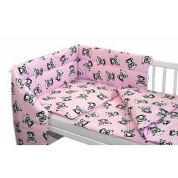 3-dílná sada mantinel s povlečením + zavinovačka zdarma - Baby Panda, růžová