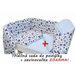 3-dílná sada mantinel s povlečením + zavinovačka zdarma - Srdíčka modré, sv.modrá