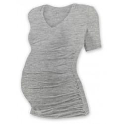 Těh. tričko kr. rukáv s výstřihem do V - šedý melír