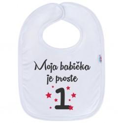 Kojenecký bavlněný bryndák New Baby Moja babička je proste 1, Bílá, univerzální