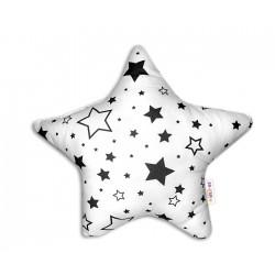 Hvězdička - dekorační polštářek - černé hvězdy a hvězdičky