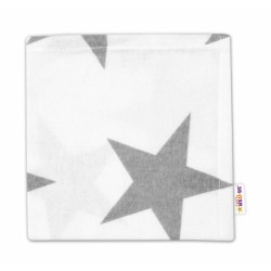 Flanelová plenka Mini  - Velké hvězdy šedé na bílém