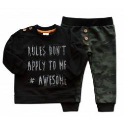 Sada triko/mikinka + tepláčky Army - černá/khaki