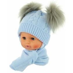 Zimní čepička s šálou - chlupáčkové bambulky - sv. modrá