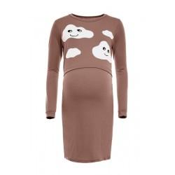 Těhotenská, kojící noční košile Mráčky  - cappuccino