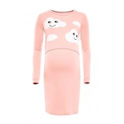 Těhotenská, kojící noční košile Mráčky  - růžová