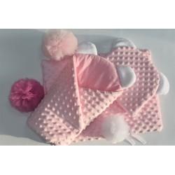 Sada pro panenku Baby Nellys - zavinovačka, peřinka a polštářek Minky - růžová