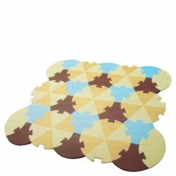 Dětská hrací podložka puzzle, 27 ks - Trojúhelníky - béžové