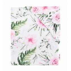 Dětské bavlněné prostěradlo do postýlky - Flowers - růžové