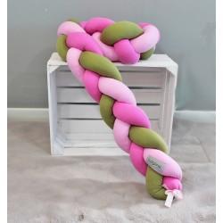 Mantinel Baby Nellys pletený cop - zelená, sv. růžová, růžová