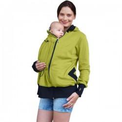 Těhotenská/nosící bavlněná mikina - limetková