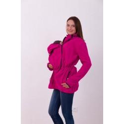 Nosící fleece mikina s kapucí - pouze přední nošení - tm. růžová