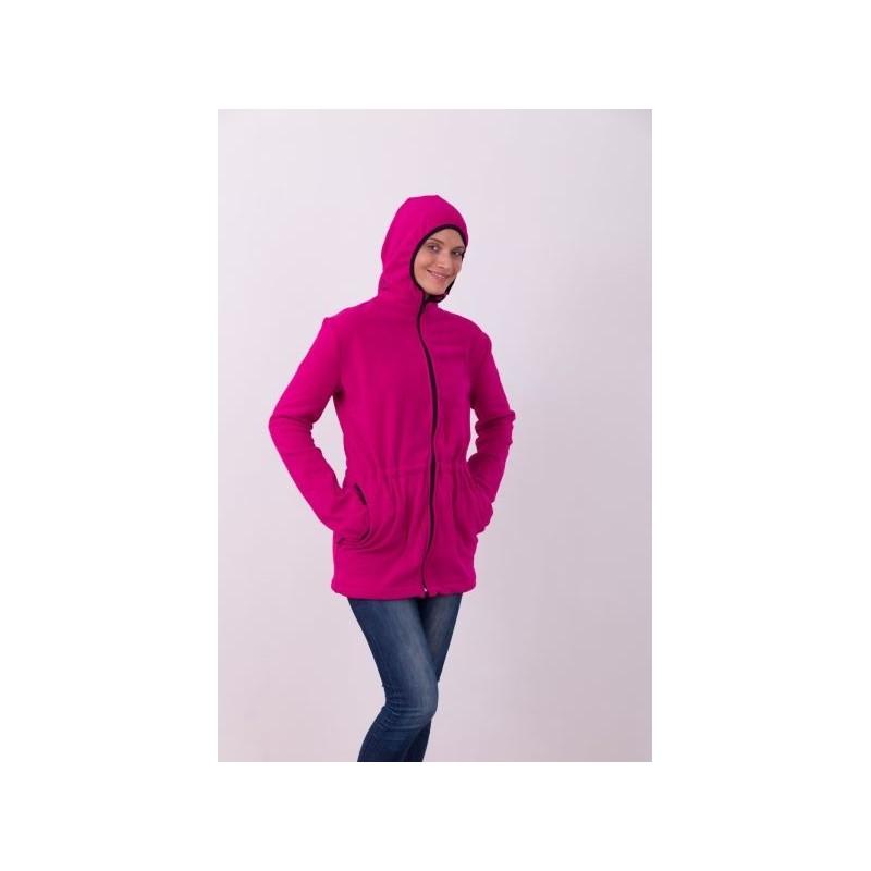 f86ebfd7324 Nosící fleece mikina s kapucí - pouze přední nošení - tm. růžová ...