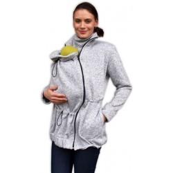 Nosící fleecová mikina - pro nošení dítěte ve předu - šedý melír