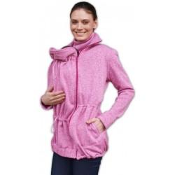 Nosící fleecová mikina - pro nošení dítěte v předu i vzadu na těle - růžový melír
